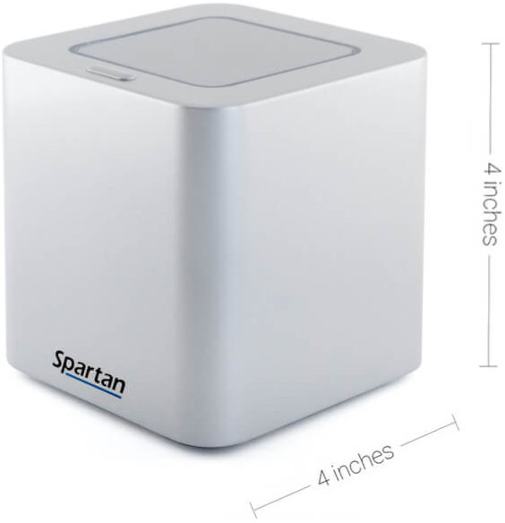 Photo of the Spartan Cube with dimensions displayed