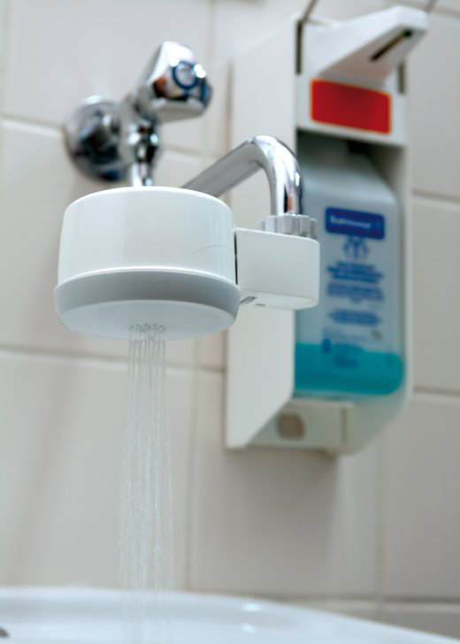 Photo of LiquiTech's Point-of-Use product on a faucet